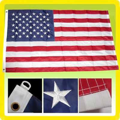10x15 ft Deluxe US American Flag Large Jumbo Sewn Nylon Embroidered Stars USA