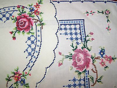 Vintage French Chic~Table Runner & Oval Doily EMBROIDERED Pink Roses~Not Shabby