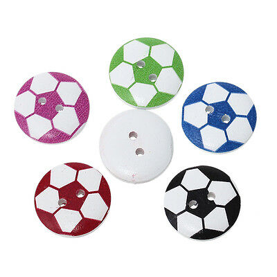 20 x FOOTBALL BUTTONS, MIXED COLOURS, 20mm -  SAME DAY **FREE**  POSTAGE