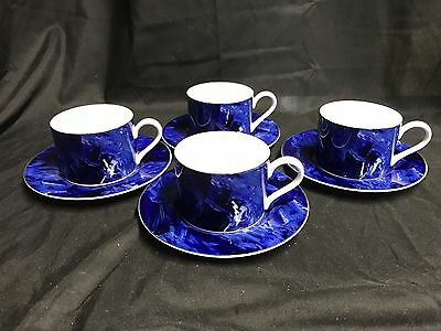 """Victoria & Beale  """"AURORA"""" #9018 ~ Set of 4 ~ Cups & Saucers ~ 2 1/4"""" Tall"""