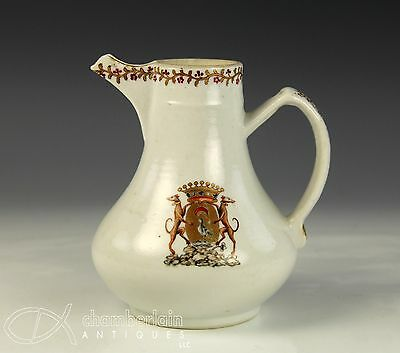 Antique 18C Chinese Export Armorial Handled Jug Pitcher