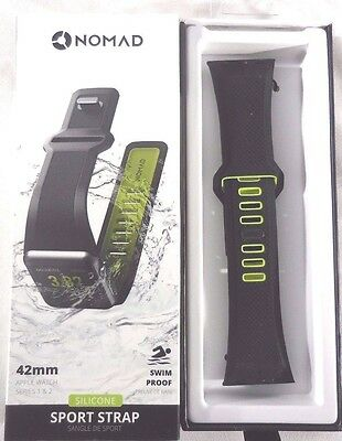 Nomad Sport Watch Strap for Apple Watch42mm VOLT GREEN on BLACK