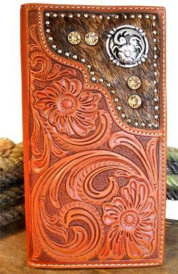 Nocona Western Wallet Mens Leather Rodeo Tooled Hair Onlay Saddle N5426948