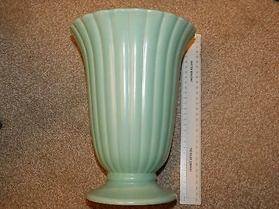 Dartmouth Pottery Large Flared Ribbed Mint Green Vase