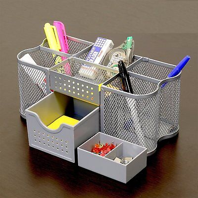 Silver Mesh Office Supplies Desk Letter Organizer Caddy