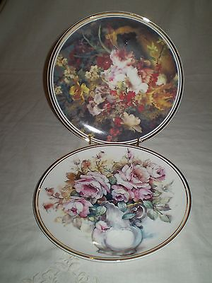 2 Pretty Floral Staffordshire Edwardian Fine Bone China Display Plates Gold Trim