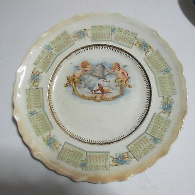 1910 Calendar Plate Antique Plate With Angels Ringing in the New Year