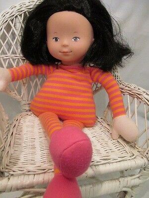 """16"""" Brunette Cloth and Vinyl Corolle Asian Cloth Doll"""