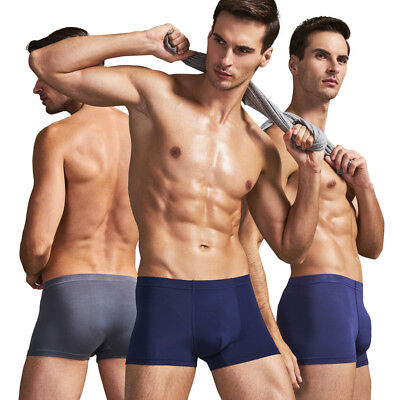 9d4a122bab98 THREEGUN 3 Pack Soft Mens Boxer Briefs Seamless Elastic Underwear Comfort  Trunk