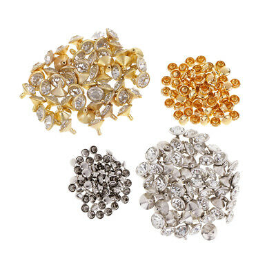 100x Rhinestone Rivets Studs Button for Clothes Bracelet Leather Craft 10mm