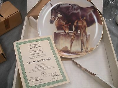 """1985 American Artist Mare and Foal series plate """"The Water Trough"""" 1st issue"""