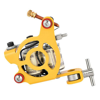 New Alloy Coil Tattoo Machine 10 Wraps For Body Art Design Yellow / Blue