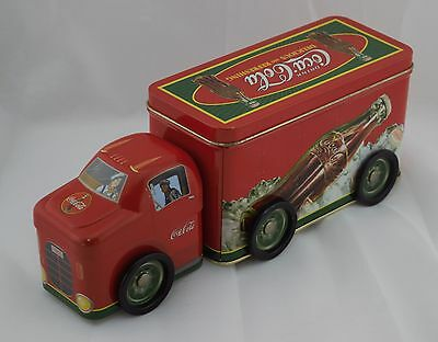 """Coca-Cola Tin Canister Delivery Truck Red 10.5""""l x 3.5""""w x 3.5""""h Moving Wheels"""