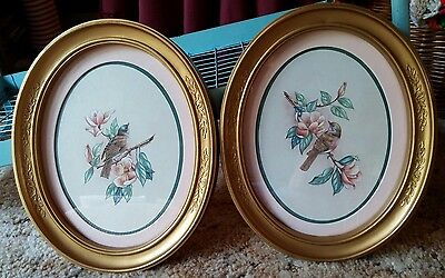 VTG HOMCO Pair of KAY LAMB SHANNON Oval BIRD Prints Framed & Matted VGUC