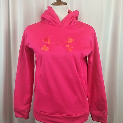 UNDER ARMOUR Storm HOT PINK Hoodie Fleece Lined Size YLG Youth Large Loose