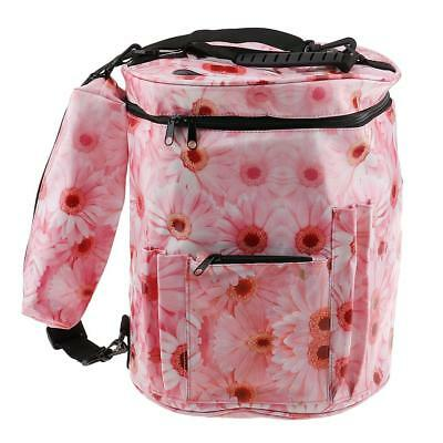 Yarn Storage Drum Bag Organizer Divider Crocheting Knitting Yarn Holder Pink