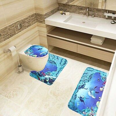 3XOcean Dolphin Bathroom Lid Toilet Seat Cover Pedestal Rug Bath Mat Carpet Set