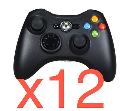Lot of 12 Official Genuine Microsoft xbox 360 Wireless Controller Glossy Black