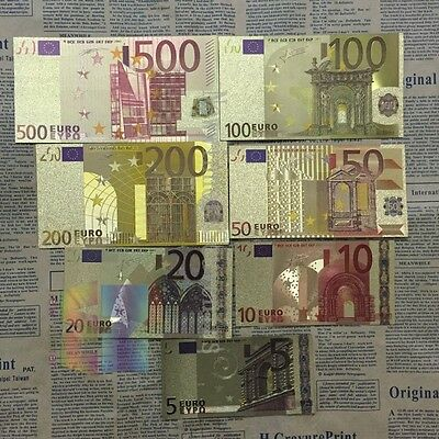 FULL SET of 24k GOLD Euro Bank Notes! - 7 PIECES in total  - BU Condition!