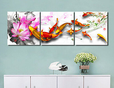 "3Pcs Framed 16X16"" Wall Decor Art CP Print Oil Painting on Canvas Koi Lotus Pond"