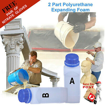 2 Part (2 x 350ml) Liquid Polyurethane Expanding Foam Kit 1kg Density Equal Part
