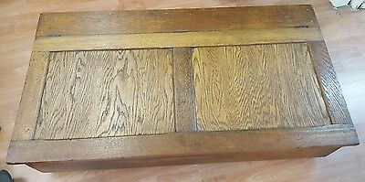 Antique English Oak Storage box J Hunter and Co Manchester England.