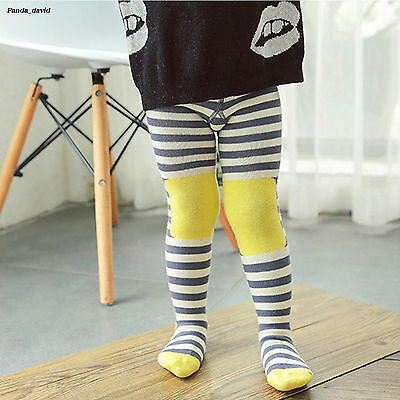 Lovely Girls Assorted Colors Striped Pantyhose Cotton Comfort Baby Tights Yellow
