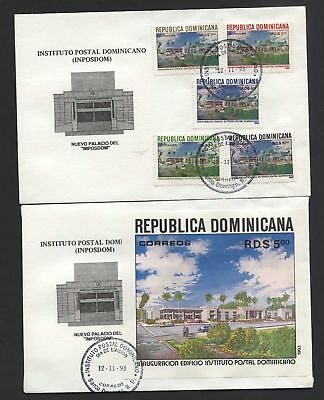 Dominican Republic 1993 Postal Institute Building set & m.s on First Day Covers