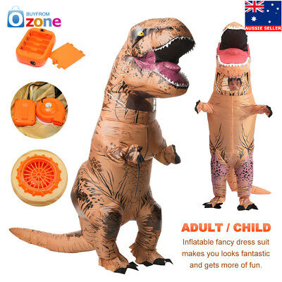 Adult Child T-REX Inflatable Dinosaur Costume Jurassic Fancy Dress Blowup Outfit