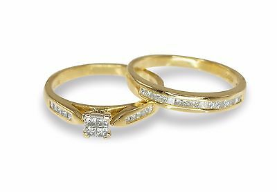 REDUCED 18k Yellow Gold .70ct Diamond Engagement/Wedding 2 Ring Bridal Set 116/7