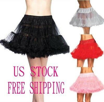 Short Black 2 Layers Soft Tulle Hoopless Underskirt Crinoline Petticoat Slip M/L