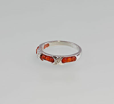 a8-07236 925er silver Ring with Carnelian & white Stones Onyx Size 56/57