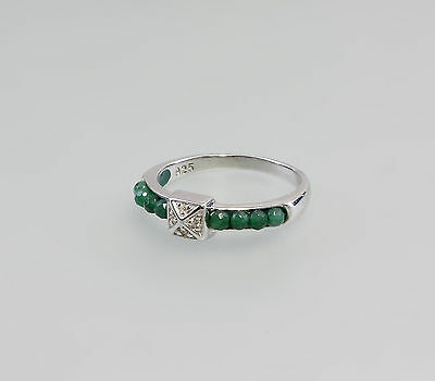 a8-07239 925er Silver Ring green faceted Agates u. white Stones Size 56/57