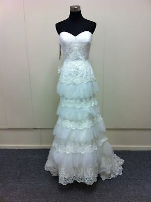 Beautiful layered wedding gown with beaded motifs ( was $1898.50) MS424