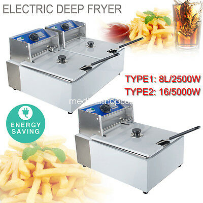 Electric Countertop Deep Fryer Commercial Basket French Fry Single/Dual Tanks US