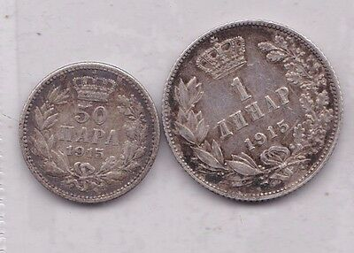 Serbia 1915 Silver 1 Dinar & 50 Para In Very Fine Or Slightly Better Condition