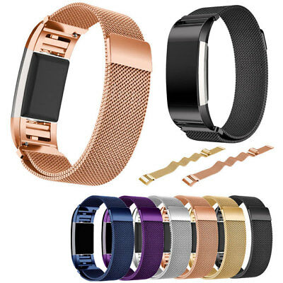 Milanese Magnetic Metal Stainless Strap Replace Band For Fitbit Charge 2 Watch
