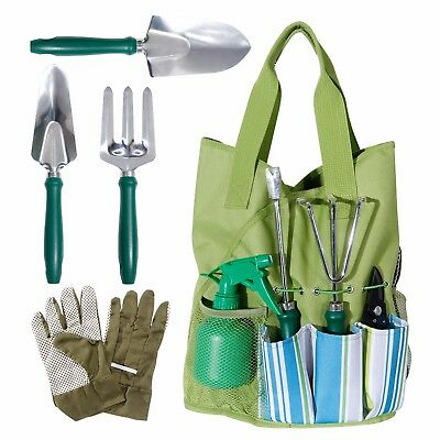 WolfWise 9 Piece Garden Tools Set Gloves Tote Trowel Pruner Herb Hand Tools Set
