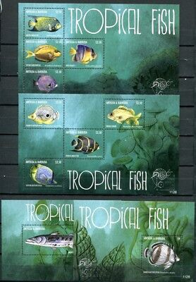 Antigua 2011 Fische Fishes Poissons Pesci Meerestiere 4968-75 Block 476-477 MNH