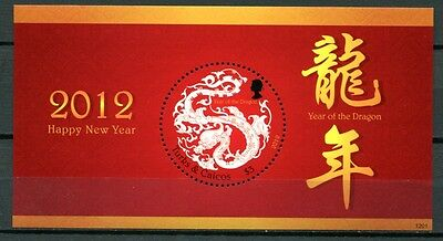 Turks & Caicos 2012 Jahr des Drachen Year of the Dragon Block ** MNH