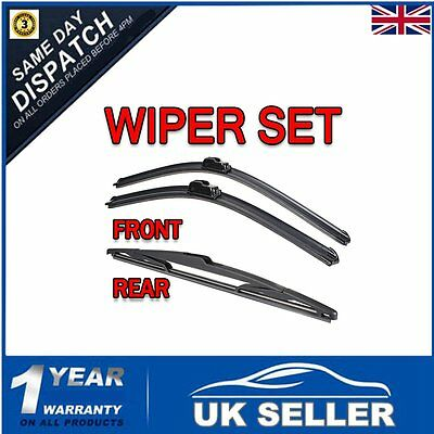 For Peugeot 307 2001-2004 Hatchback Front and Rear Windscreen Wiper Blades + arm