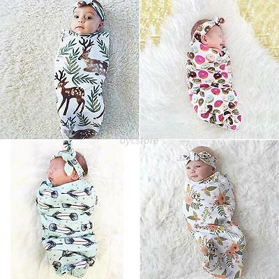 Newborn Infant Baby Swaddle Cocoon Wrap Covers Blanket Sleep Bag +Headband Set