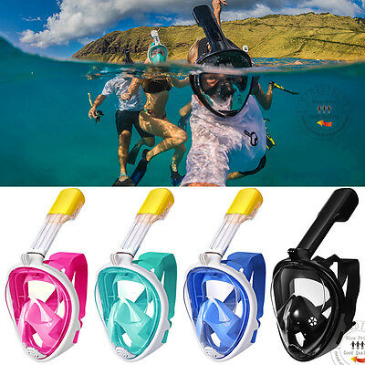 Hot Anti-Fog Full Face Mask Swimming Underwater Diving Snorkel Scuba GoPro Glass