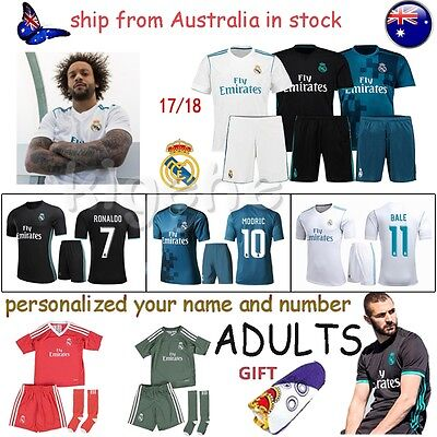 18 Adult Sports football Jersey Kit Short Sleeve Men Soccer outfit suit +Socks