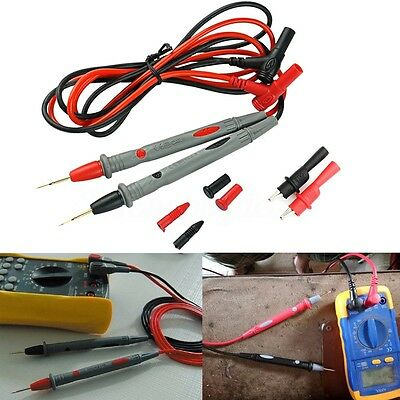 1000V 20A Probe Test Lead + Alligator Clips Clamp Cable Digital Multimeter Test