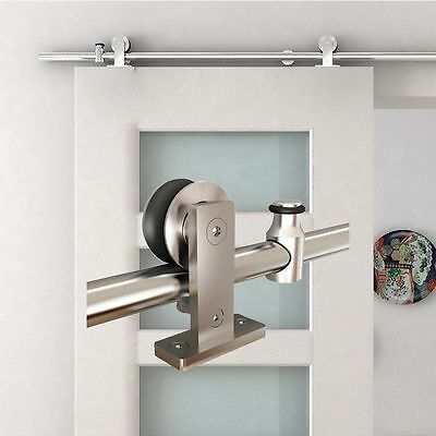 6.6 FT Modern Stainless Steel Sliding Barn Wood Door Closet Hardware Track Set##