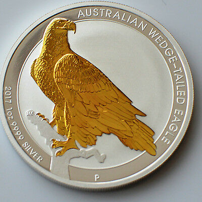 2017 Australian Wedge-Tailed Eagle 1oz .999 Silver & Gold Gilded Coin