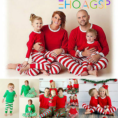 Christmas Family Matching Long Sleeve Top Pants Pajamas Kid Mom Daddy Nightwear