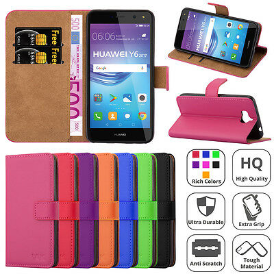 Leather Wallet Flip Book Stand View Case Cover for Huawei Y6 2017 Mobile Phone