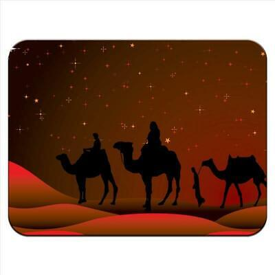 Following The Star To Bethlehem On Camels Thick Rubber Mouse Mat